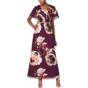 SLNY   Floral Print Embellished Maxi Dress